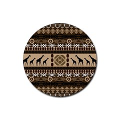 African Vector Patterns  Rubber Round Coaster (4 Pack)