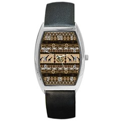 African Vector Patterns  Barrel Style Metal Watch