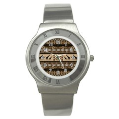 African Vector Patterns  Stainless Steel Watch