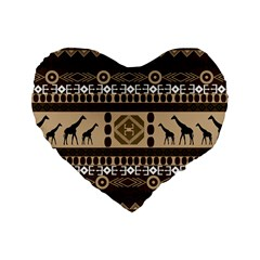 African Vector Patterns  Standard 16  Premium Heart Shape Cushions