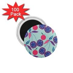 Passion Fruit Pink Purple Cerry Blue Leaf 1 75  Magnets (100 Pack)