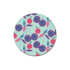 Passion Fruit Pink Purple Cerry Blue Leaf Magnet 3  (round)