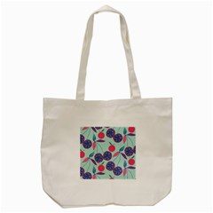 Passion Fruit Pink Purple Cerry Blue Leaf Tote Bag (cream)