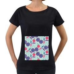 Passion Fruit Pink Purple Cerry Blue Leaf Women s Loose-Fit T-Shirt (Black)