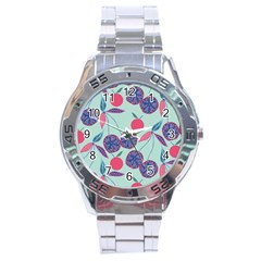Passion Fruit Pink Purple Cerry Blue Leaf Stainless Steel Analogue Watch