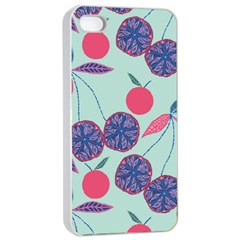 Passion Fruit Pink Purple Cerry Blue Leaf Apple Iphone 4/4s Seamless Case (white)