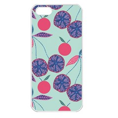 Passion Fruit Pink Purple Cerry Blue Leaf Apple iPhone 5 Seamless Case (White)