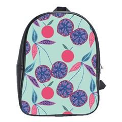 Passion Fruit Pink Purple Cerry Blue Leaf School Bags (XL)