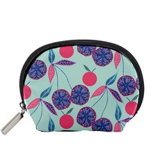 Passion Fruit Pink Purple Cerry Blue Leaf Accessory Pouches (Small)