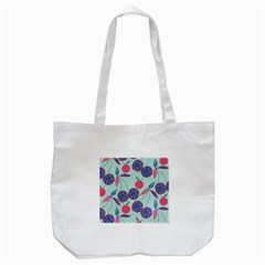 Passion Fruit Pink Purple Cerry Blue Leaf Tote Bag (White)