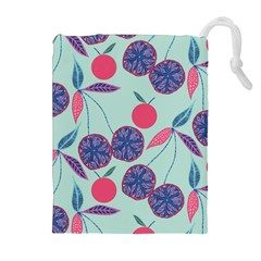 Passion Fruit Pink Purple Cerry Blue Leaf Drawstring Pouches (Extra Large)
