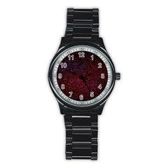 3d Tiny Dots Pattern Texture Stainless Steel Round Watch