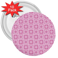 Plaid Floral Flower Pink 3  Buttons (10 pack)