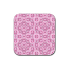 Plaid Floral Flower Pink Rubber Square Coaster (4 pack)