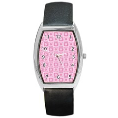 Plaid Floral Flower Pink Barrel Style Metal Watch
