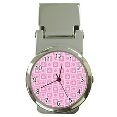 Plaid Floral Flower Pink Money Clip Watches