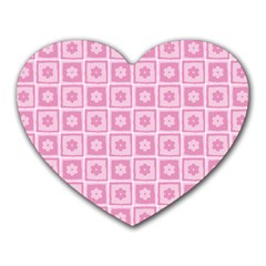 Plaid Floral Flower Pink Heart Mousepads