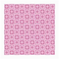 Plaid Floral Flower Pink Medium Glasses Cloth (2-Side)