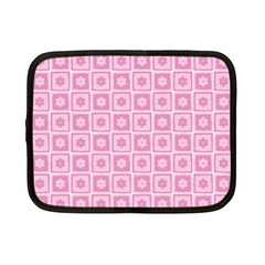 Plaid Floral Flower Pink Netbook Case (Small)