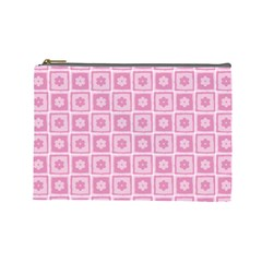 Plaid Floral Flower Pink Cosmetic Bag (Large)