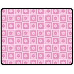 Plaid Floral Flower Pink Fleece Blanket (medium)