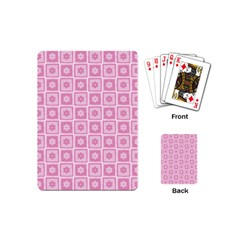 Plaid Floral Flower Pink Playing Cards (Mini)