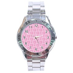 Plaid Floral Flower Pink Stainless Steel Analogue Watch