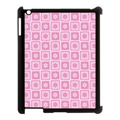 Plaid Floral Flower Pink Apple Ipad 3/4 Case (black)