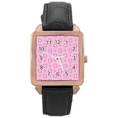 Plaid Floral Flower Pink Rose Gold Leather Watch