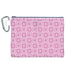 Plaid Floral Flower Pink Canvas Cosmetic Bag (XL)