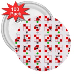 Permutations Dice Plaid Red Green 3  Buttons (100 pack)
