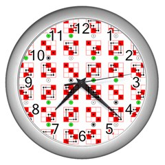 Permutations Dice Plaid Red Green Wall Clocks (silver)