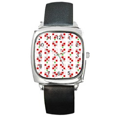 Permutations Dice Plaid Red Green Square Metal Watch