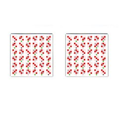 Permutations Dice Plaid Red Green Cufflinks (square)
