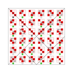 Permutations Dice Plaid Red Green Acrylic Tangram Puzzle (6  x 6 )