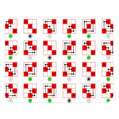 Permutations Dice Plaid Red Green Double Sided Flano Blanket (Large)