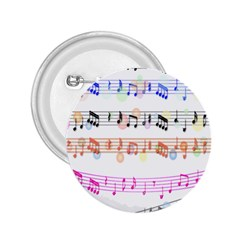 Notes Tone Music Rainbow Color Black Orange Pink Grey 2 25  Buttons