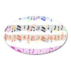 Notes Tone Music Rainbow Color Black Orange Pink Grey Oval Magnet