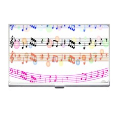 Notes Tone Music Rainbow Color Black Orange Pink Grey Business Card Holders