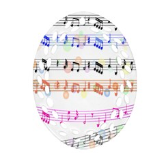 Notes Tone Music Rainbow Color Black Orange Pink Grey Oval Filigree Ornament (Two Sides)