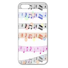 Notes Tone Music Rainbow Color Black Orange Pink Grey Apple Seamless Iphone 5 Case (clear)
