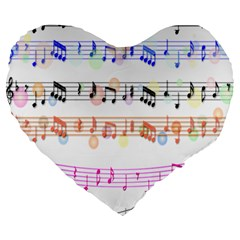 Notes Tone Music Rainbow Color Black Orange Pink Grey Large 19  Premium Heart Shape Cushions