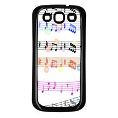 Notes Tone Music Rainbow Color Black Orange Pink Grey Samsung Galaxy S3 Back Case (Black)