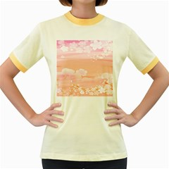 Season Flower Floral Pink Women s Fitted Ringer T Shirts