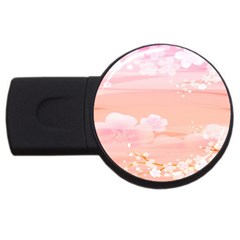 Season Flower Floral Pink USB Flash Drive Round (1 GB)