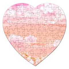 Season Flower Floral Pink Jigsaw Puzzle (Heart)