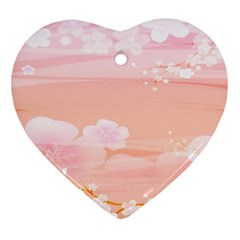 Season Flower Floral Pink Heart Ornament (Two Sides)