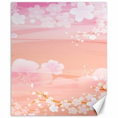 Season Flower Floral Pink Canvas 8  X 10