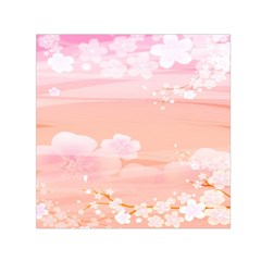 Season Flower Floral Pink Small Satin Scarf (Square)