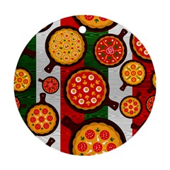 Pizza Italia Beef Flag Round Ornament (Two Sides)